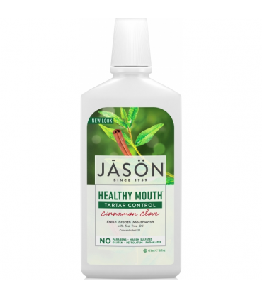 Apa de gura Healthy Mouth cu tea tree si scortisoara pt gingiile iritate Jason 473 ml