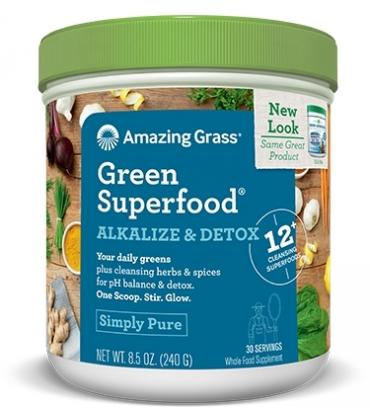 Bautura din iarba de grau Alkalize Detox 30 portii Amazing Grass
