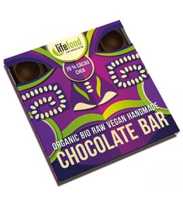 Ciocolata cu 70% cacao si chia Raw Bio
